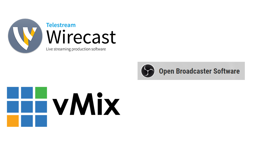 Tres de los grandes softwares del mercado de streaming. Wirecast, vMix y OBS